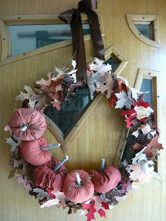 Here is the long overdue fall wreath tutorial I showed you a sneak peak of a while back.  I started with a wreath I bought at the thrift st...