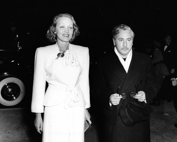"""Marlene Dietrich and Josef von Sternberg arrive for the premiere of """"Goodbye, Mr. Chips""""at the Four Star Theatre in Los Angeles. May, 1939"""