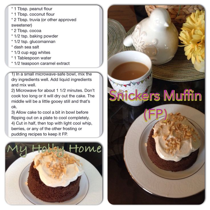THM - FP - snickers muffin (FP frosting - 1/4 cup 0% Greek yogurt, 1 TB unsweetened almond milk, 1/2 tsp defatted peanut flour, dash of vanilla, sprinkle of sea salt and sweetner Mix then sprinkle a couple crushed peanuts on top)