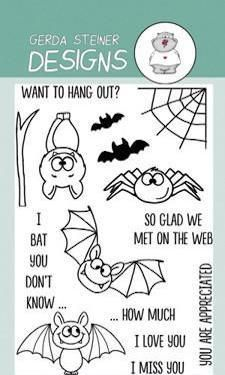 If you like to create cute cards rather than scary ones with bats and spiders, you'll love this Stamp Set. It includes three bats in different positions, also two background bats for scenes and a very