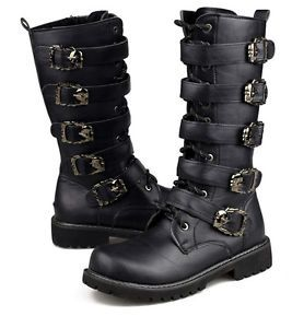 Mens-Metal-Punk-Rock-Goth-Band-Lace-Up-Buckle-Zip-Boots-Motorcycle-Riding-Shoes