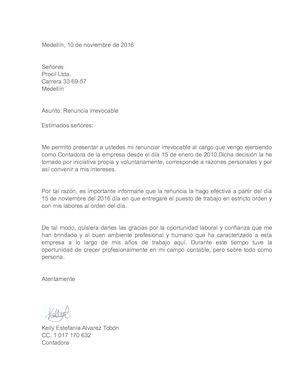 CARTA RENUNCIA IRREVOCABLE