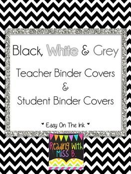Save ink on the black and white teacher binder covers and student binders covers.