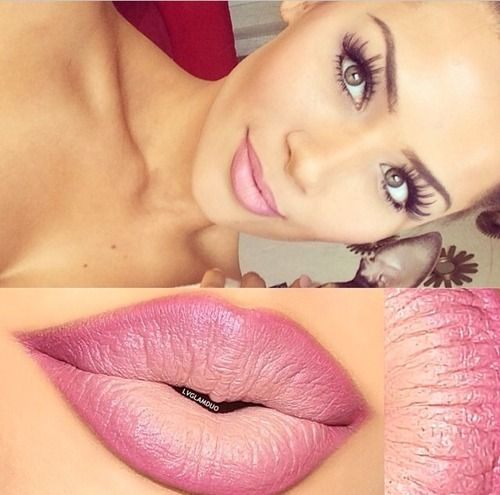 We love this combination of neutral eye make up with ombre pink to nude lips #glam...x