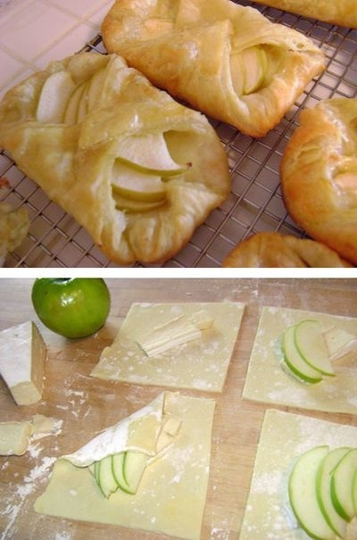 brie and apple tarts ... this would be perfect for the potluck. Wish we had an oven at the office. juanitav