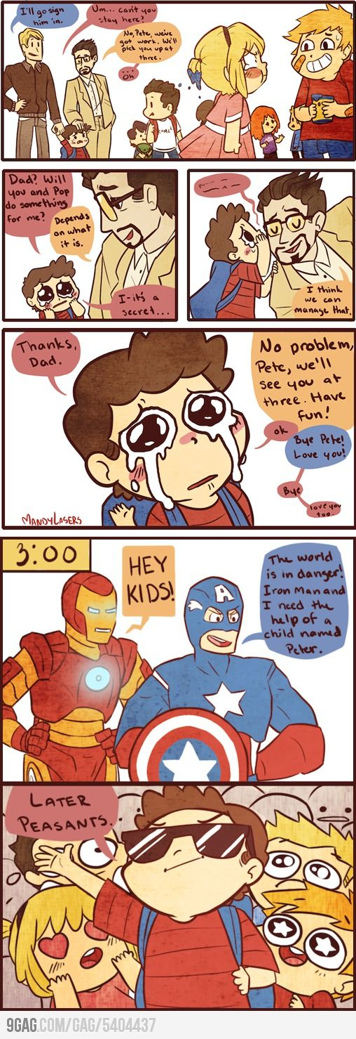 I don't understand why people insist on putting Steve and Tony together but....this is cute.