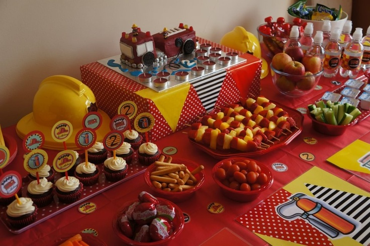 Fire engine party table