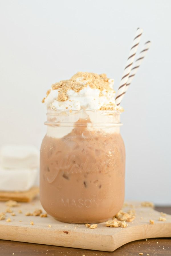 Homemade coffee, marshmallows, graham crackers and whipped cream all go into this S'Mores Iced Coffee.