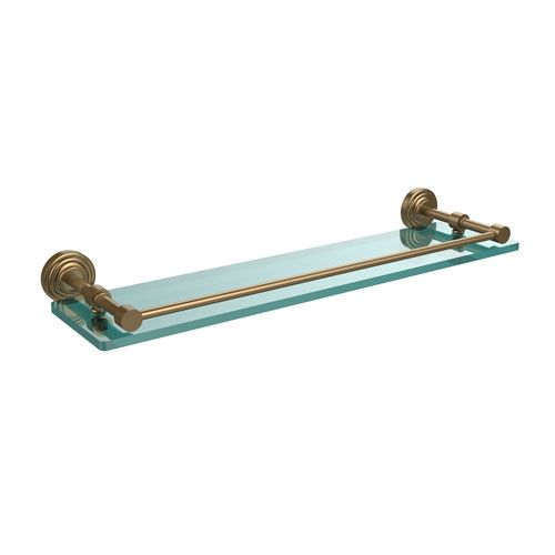 Waverly Place 22 Inch Tempered Glass Shelf with Gallery Rail, Brushed Bronze - (In No Image Available)