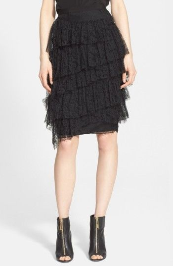 Burberry Women's Tiered Chantilly Lace Skirt