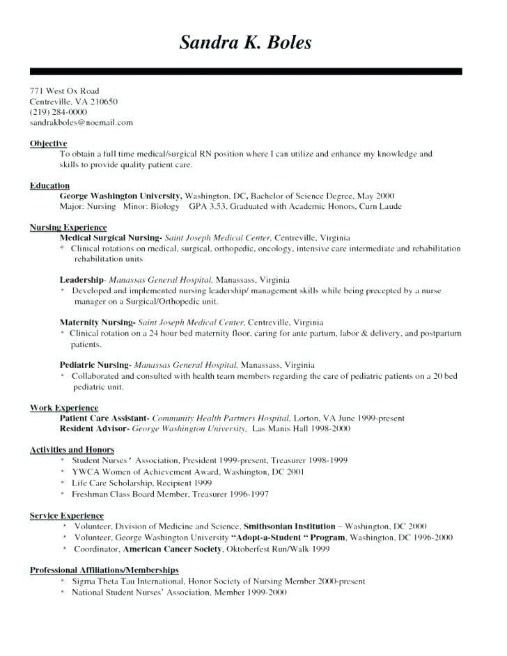 30 Med Surg Nurse Resume Cover Letter Templates Nursing Resume Template Nursing Resume Nursing Resume Examples