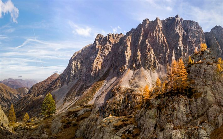 Download wallpapers Alps, autumn, mountain landscape, France, mountain valley, Mercantour National Park