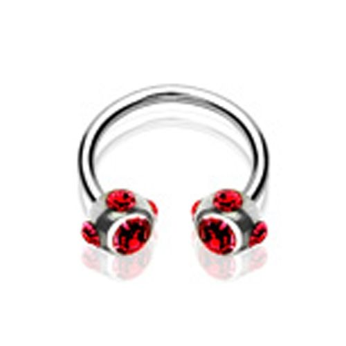 Piercing crystal ball ring rood
