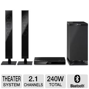 Panasonic Home Theater System Sound Bar with Wireless Subwoofer, Bluetooth Wireless Technology, Multi-Position Speakers, Anti-Jitter Digital Amplifier, Clear-Mode Dialog and Dialog Level Control, by Panasonic. $299.99. Panasonic Home Theater System Sound Bar with Wireless SubwooferThe Panasonic Home Theater System Sound Bar with Subwoofer is a 2.1 channel system delivering 240W of room-filling audio from a sleek minimalist form factor.Subwoofer and Speakers are mountable ...