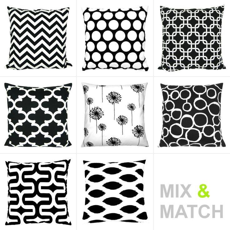 Kissenhüllen grafische Muster | SCHÖNE KISSEN-Kombinationsmöglichkeiten 40 x 40 schwarz-weiß-grau