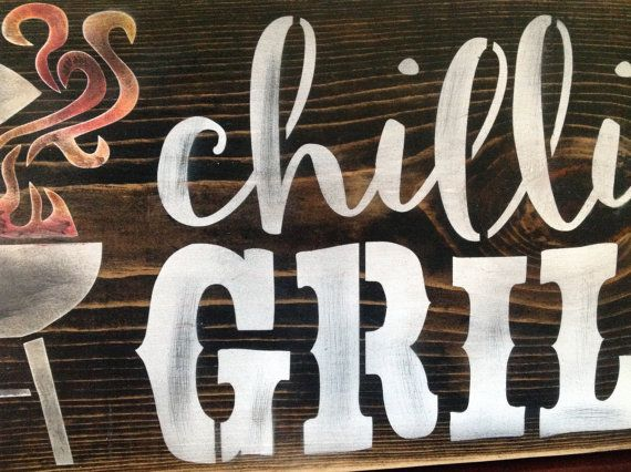 Chillin And Grillin Bbq Sign Wood Primitive Father S