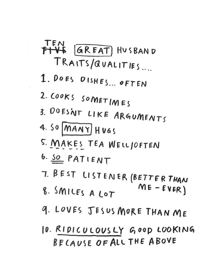 The Ten Relationship Commandments Everyone Breaks ten great husband qualities.. lettering by Susanna April.
