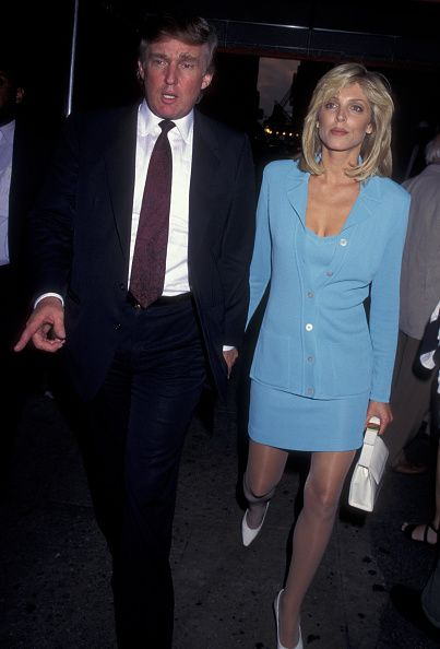 Donald Trump and Marla Maples attend 'Hamlet' Performance on July 11 1995 at the Belasco Theater in New York City