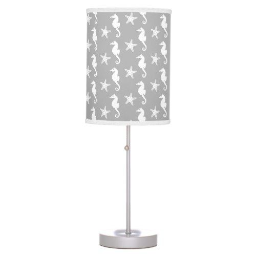 Seahorse & starfish - white on silver grey table lamp