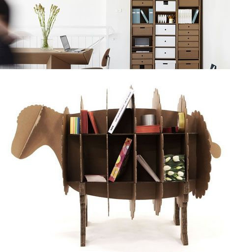 corrugated sheep shelving system. I luv all this cardboard furniture