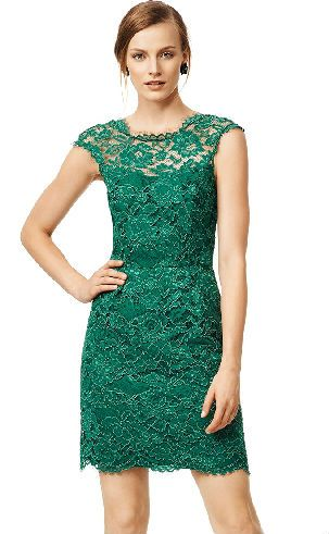 Gorgeous emerald green lace dress for a winter wedding guest