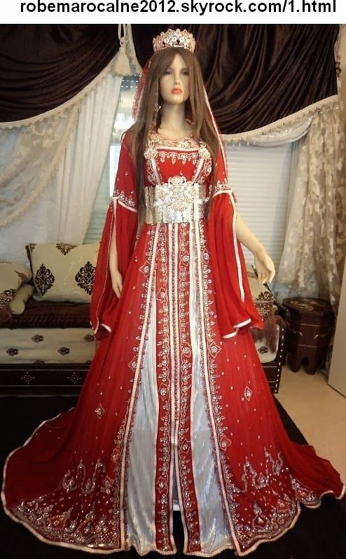 Gorgeous red and silver Moroccan caftan / kaftan