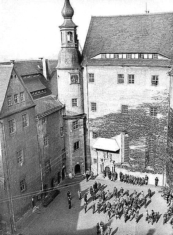 The prisoners' courtyard at Colditz castle