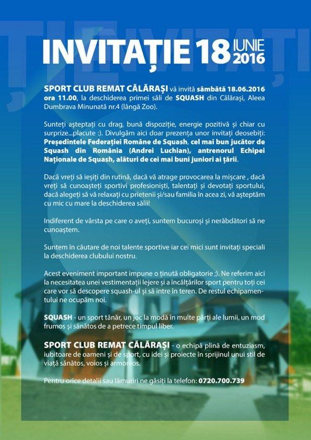 Sambata, 18 iunie la ora 11:00, Sport Club Remat lanseaza primul club de squash din Calarasi pe Aleea Dumbrava Minunata la numarul 4, langa Gradina Zoologica... http://www.squashmania.ro/calarasi-pe-harta-squash-ului/
