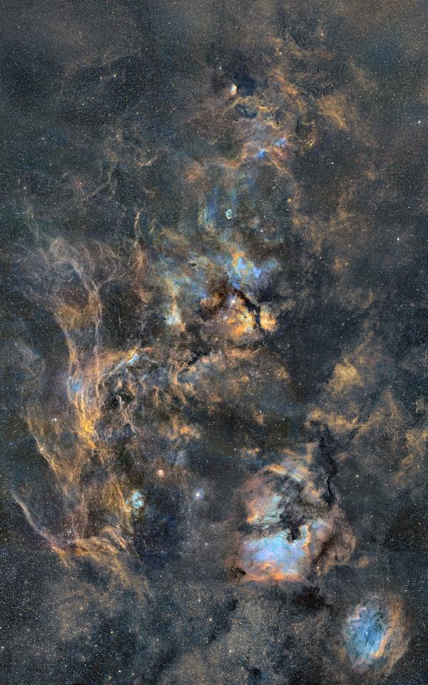 18-panels mosaic of Cygnus Nebulae - Large 18-panels mosaic about Nebulae of Cygnus constellation in narrowband colors. - http://astroanarchy.zenfolio.com/p529257917/h1a60116f#h1a60116f