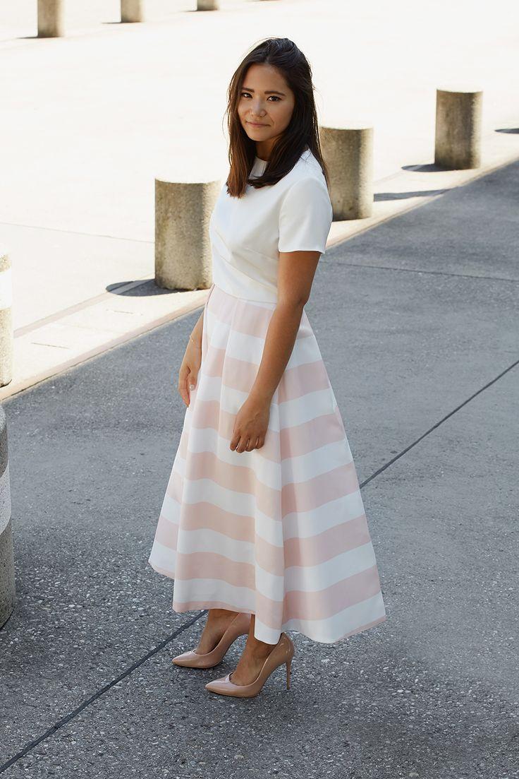 ANINA-STELLA dress in white and blush white stripes - helle summer - dress - bridesmaid dresses