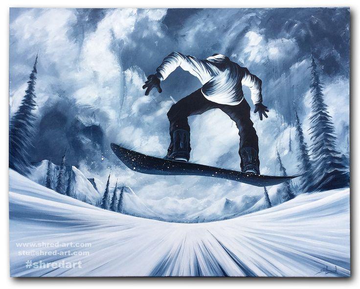 3b8abf5e273  Frontside Fear  - W40x32   W101x81cm Original Acrylic on Canvas Painting  by Stu Leonard.