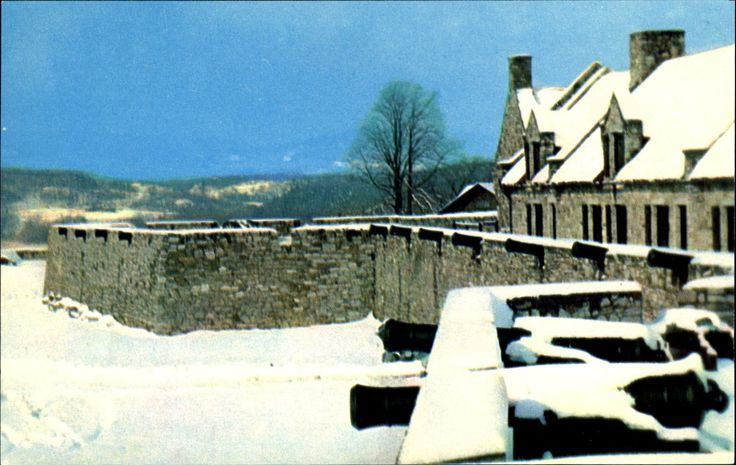 South Barracks and Platform winter snow ~ Fort Ticonderoga NY French cannon