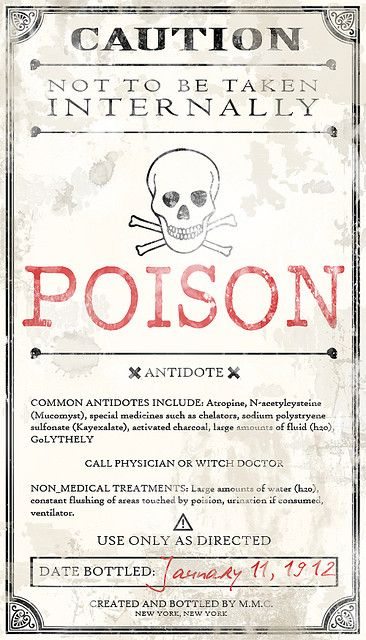 Potion Ingredients Label