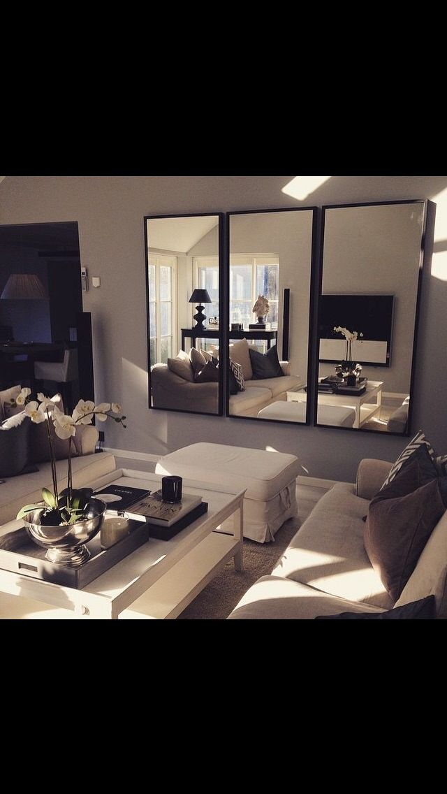 Love the mirrors living room inspo pinterest the o for Couchtisch taupe