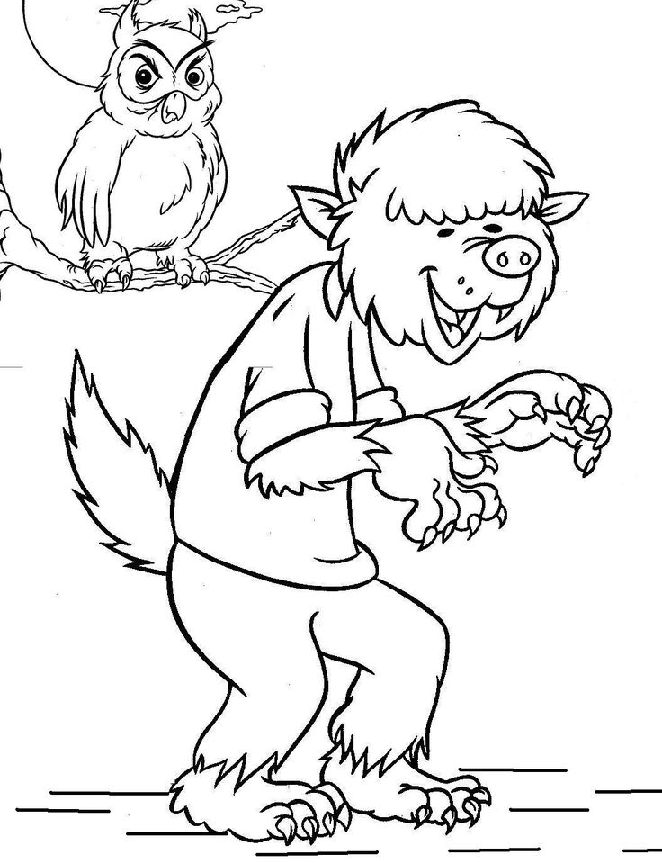 195 best witch, halloween, skull, & vampire ~ adult coloring ... - Halloween Werewolf Coloring Pages