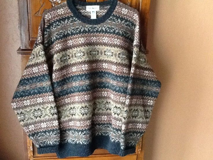 LL BEAN Wools of New Zealand Sweater Made In Scotland Men's Size Large  #LLBean #Crewneck