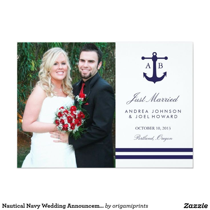 Nautical Navy Photo Wedding Announcements