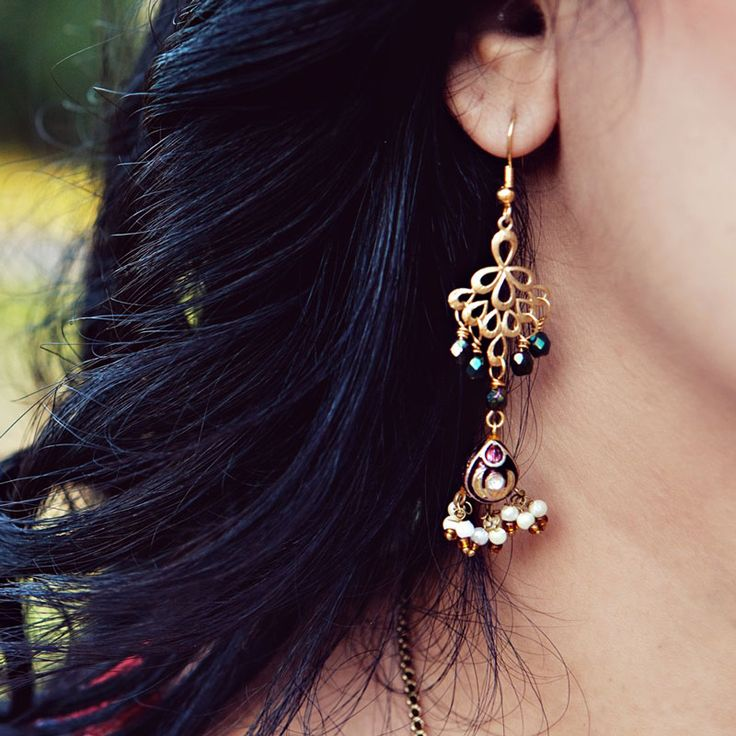 Maharani Pink and Blue Drop Earrings
