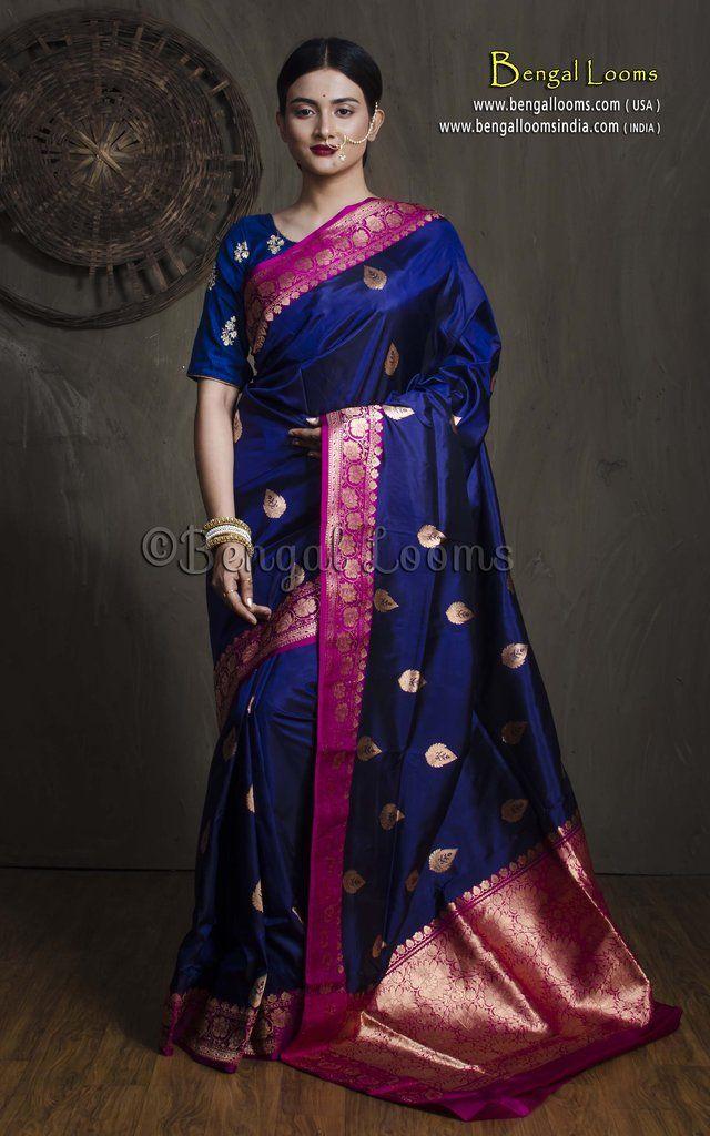 3b4e704111 Pure Handloom Katan Silk Banarasi Saree in Dark Blue and Purple ...