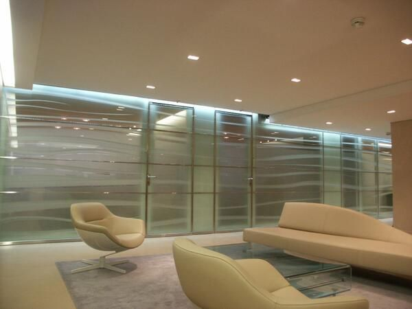 Waves    Acoustic partition and doors white float glass engraved and sandblasted & 45 best Sandblasting glass door designs images on Pinterest ... pezcame.com