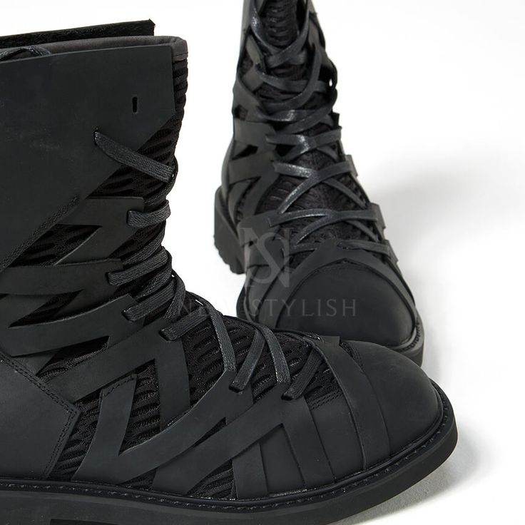 Mesh layered zigzag pattern leather high-top boots - 368