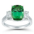 Cushion Green Tourmaline & Diamond Ring