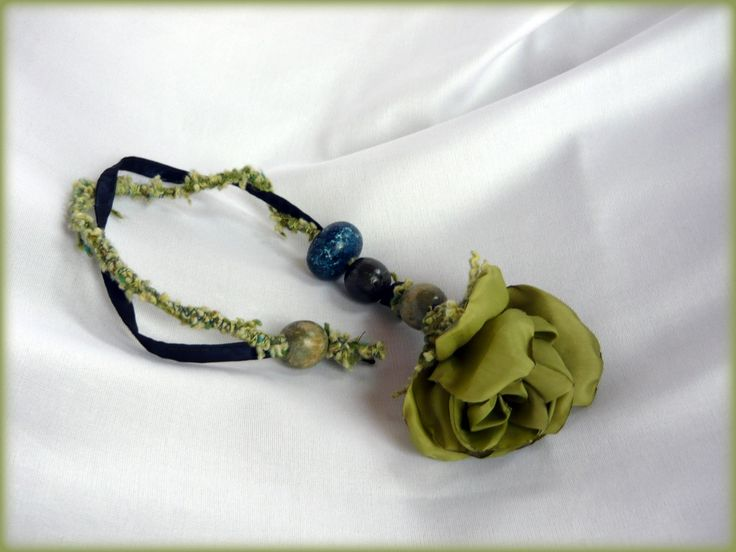 Handmade by Judy Majoros - Turquoise-green rose