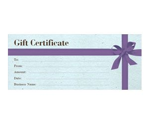 Purple Bow Gift Certificate: Get this free, printable, customizable template from YourTemplateFinder.com