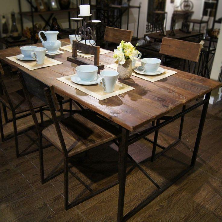 деревянная мебель журнал ретро - железный стол стол скамейки американский кантри - скандинавский стиль обеденный стол и стул