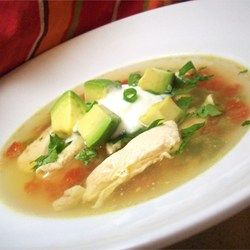 Avocado Soup with Chicken and Lime - Allrecipes.com. Omit tomato, jalepeno, corn tortilla for AIP. Still delish!