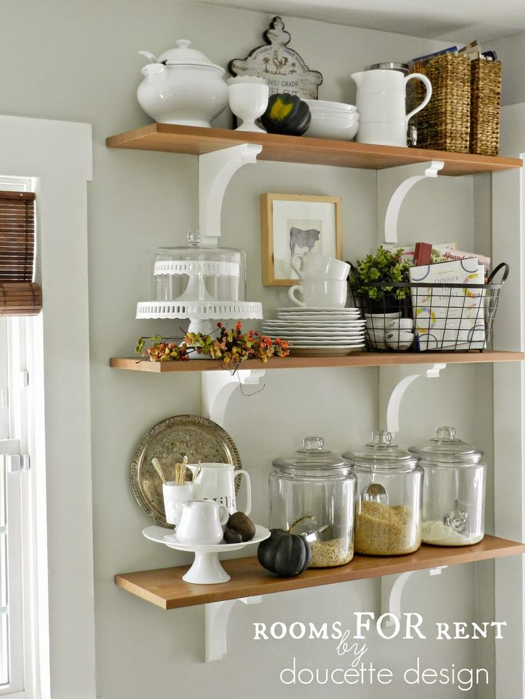 Open shelves in the kitchen grey owl by benjamin moore for Kitchen shelf ideas