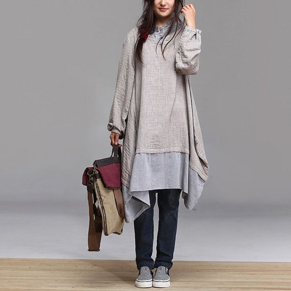 fashion linen loose blouse shirt - long sleeve capri skirt -Irregular batwing coat  autumn AOLO-364
