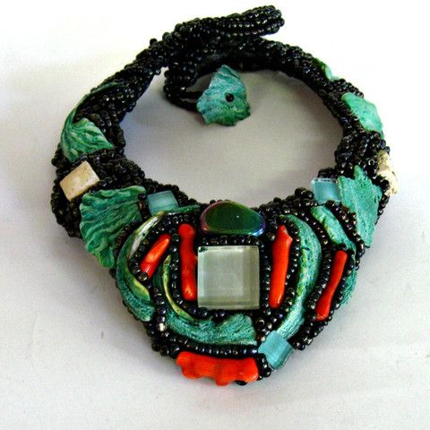 Collar - orange coral and turquoise shells
