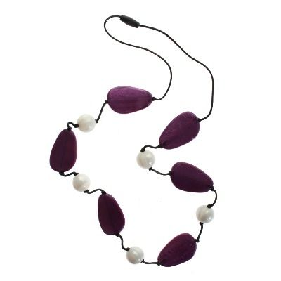 Teething jewellery for Mum to wear and Baby to enjoy! Pearlberry Gumidrops, $30  Striking with purple pebbles and white beads